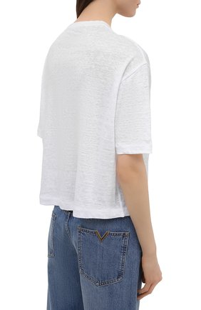 Женская льняная футболка LORO PIANA белого цвета, арт. FAL5833 | Фото 4
