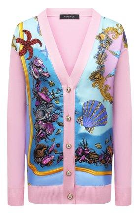 Женский кардиган из шелка и хлопка VERSACE светло-розового цвета, арт. A89165/A237543 | Фото 1