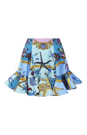 Женская юбка из вискозы VERSACE голубого цвета, арт. A89079/1F00958 | Фото 1