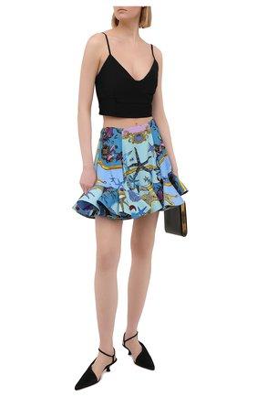 Женская юбка из вискозы VERSACE голубого цвета, арт. A89079/1F00958 | Фото 2