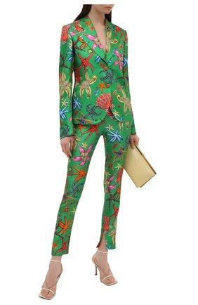 Женские шелковые брюки VERSACE зеленого цвета, арт. A89061/1F01126 | Фото 2