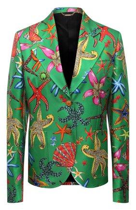 Женский шелковый жакет VERSACE зеленого цвета, арт. A88912/1F01126 | Фото 1