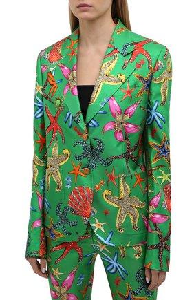 Женский шелковый жакет VERSACE зеленого цвета, арт. A88912/1F01126 | Фото 3