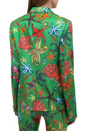 Женский шелковый жакет VERSACE зеленого цвета, арт. A88912/1F01126 | Фото 4