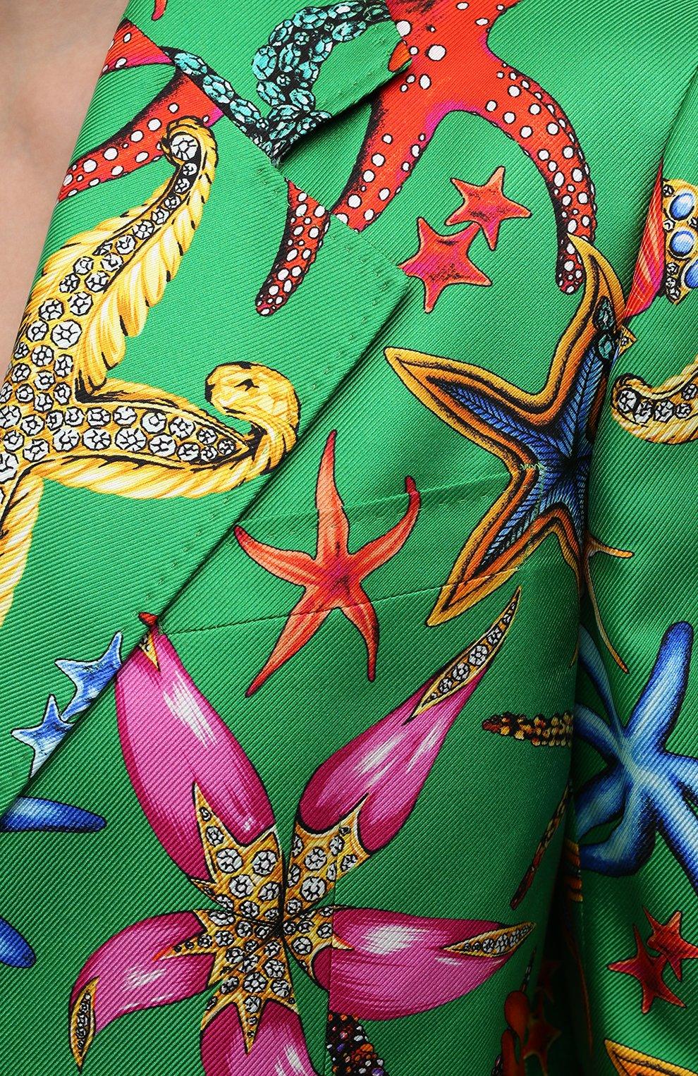 Женский шелковый жакет VERSACE зеленого цвета, арт. A88912/1F01126 | Фото 5