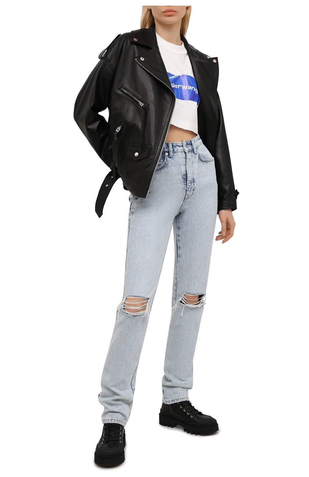 Женские джинсы DENIM X ALEXANDER WANG светло-голубого цвета, арт. 4DC2214341 | Фото 2