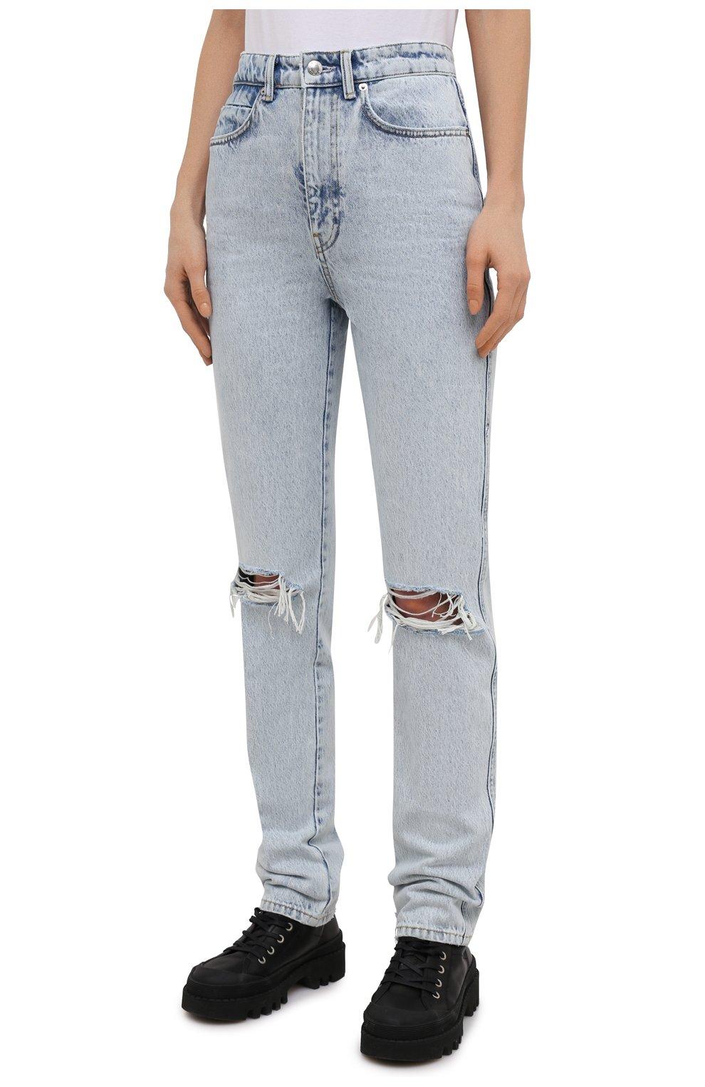 Женские джинсы DENIM X ALEXANDER WANG светло-голубого цвета, арт. 4DC2214341 | Фото 3