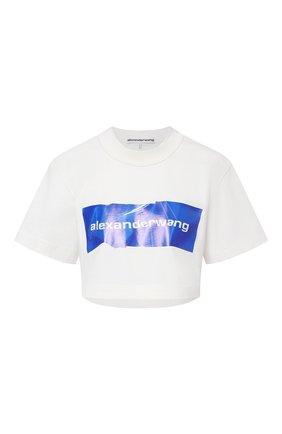 Женская хлопковая футболка ALEXANDER WANG белого цвета, арт. 1CC2211002 | Фото 1