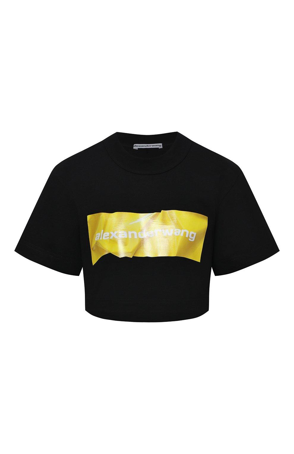 Женская хлопковая футболка ALEXANDER WANG черного цвета, арт. 1CC2211002 | Фото 1