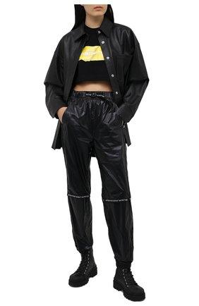 Женская хлопковая футболка ALEXANDER WANG черного цвета, арт. 1CC2211002 | Фото 2