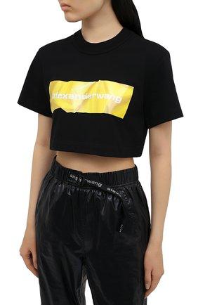 Женская хлопковая футболка ALEXANDER WANG черного цвета, арт. 1CC2211002 | Фото 3