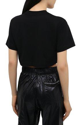 Женская хлопковая футболка ALEXANDER WANG черного цвета, арт. 1CC2211002 | Фото 4