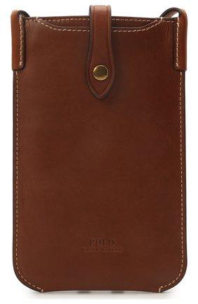 Кожаный чехол для iphone POLO RALPH LAUREN коричневого цвета, арт. 427835626 | Фото 1