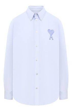 Женская хлопковая рубашка AMI голубого цвета, арт. E21FC024.45 | Фото 1