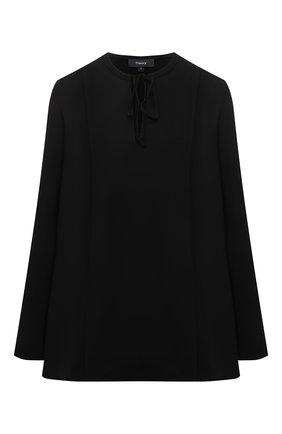 Женская блузка THEORY черного цвета, арт. L0109509 | Фото 1 (Стили: Кэжуэл; Женское Кросс-КТ: Блуза-одежда; Материал внешний: Синтетический материал; Принт: Без принта; Длина (для топов): Удлиненные; Рукава: Длинные)