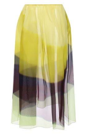 Женская шелковая юбка DRIES VAN NOTEN желтого цвета, арт. 211-10803-2086 | Фото 1