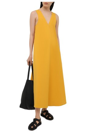 Женское хлопковое платье DRIES VAN NOTEN желтого цвета, арт. 211-11044-2331 | Фото 2
