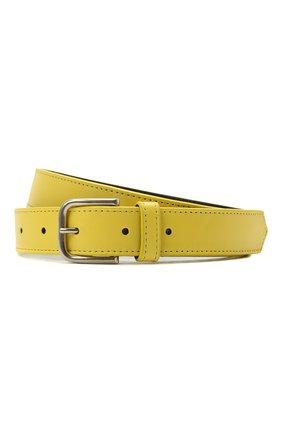 Женский кожаный ремень DRIES VAN NOTEN желтого цвета, арт. 211-11404-132 | Фото 1 (Материал: Кожа)
