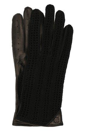 Женские перчатки GIORGIO ARMANI черного цвета, арт. 794216/1A202 | Фото 1