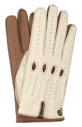 Женские кожаные перчатки GIORGIO ARMANI бежевого цвета, арт. 794205/1A200 | Фото 1