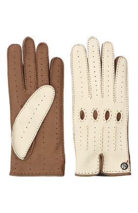 Женские кожаные перчатки GIORGIO ARMANI бежевого цвета, арт. 794205/1A200 | Фото 2