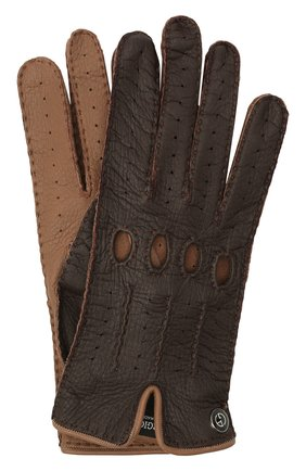 Женские кожаные перчатки GIORGIO ARMANI коричневого цвета, арт. 794205/1A200 | Фото 1