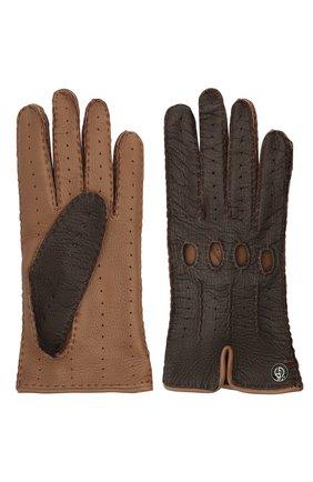 Женские кожаные перчатки GIORGIO ARMANI коричневого цвета, арт. 794205/1A200 | Фото 2