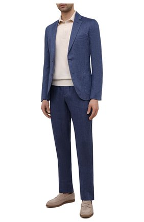 Мужские льняные брюки LORO PIANA темно-синего цвета, арт. FAL6961 | Фото 2