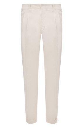 Мужские брюки из хлопка и льна LORO PIANA кремвого цвета, арт. FAL6580 | Фото 1 (Стили: Кэжуэл; Материал внешний: Лен, Хлопок; Длина (брюки, джинсы): Стандартные; Случай: Повседневный)