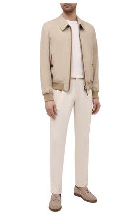 Мужские брюки из хлопка и льна LORO PIANA кремвого цвета, арт. FAL6580 | Фото 2