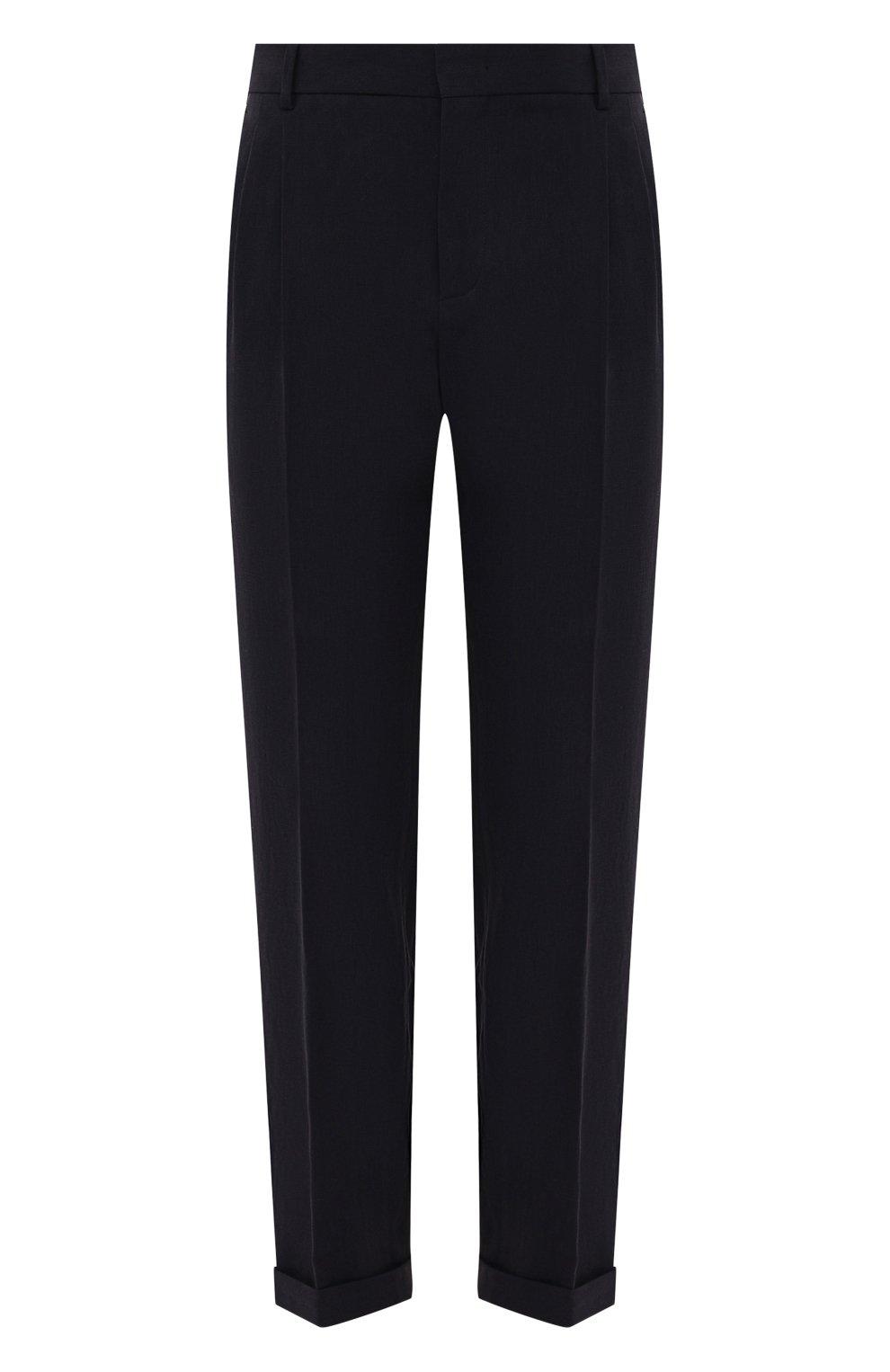 Мужские льняные брюки LORO PIANA темно-синего цвета, арт. FAL6167 | Фото 1 (Длина (брюки, джинсы): Стандартные; Случай: Повседневный; Материал внешний: Лен; Стили: Кэжуэл)