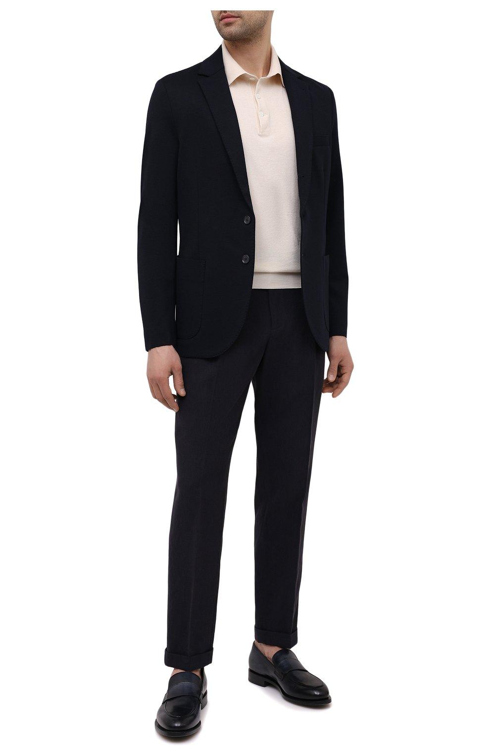 Мужские льняные брюки LORO PIANA темно-синего цвета, арт. FAL6167 | Фото 2 (Длина (брюки, джинсы): Стандартные; Случай: Повседневный; Материал внешний: Лен; Стили: Кэжуэл)