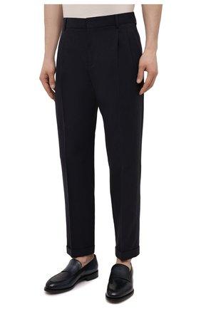 Мужские льняные брюки LORO PIANA темно-синего цвета, арт. FAL6167 | Фото 3 (Длина (брюки, джинсы): Стандартные; Случай: Повседневный; Материал внешний: Лен; Стили: Кэжуэл)