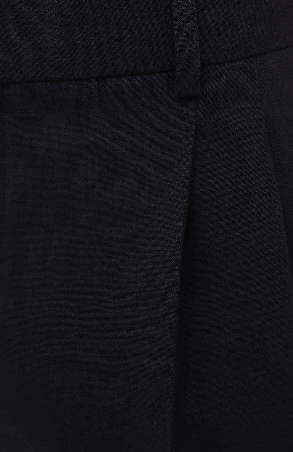 Мужские льняные брюки LORO PIANA темно-синего цвета, арт. FAL6167 | Фото 5 (Длина (брюки, джинсы): Стандартные; Случай: Повседневный; Материал внешний: Лен; Стили: Кэжуэл)