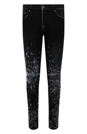 Мужские джинсы AMIRI синего цвета, арт. MDS030-404 | Фото 1 (Длина (брюки, джинсы): Стандартные; Детали: Потертости; Силуэт М (брюки): Узкие; Материал внешний: Хлопок; Стили: Гранж; Кросс-КТ: Деним)