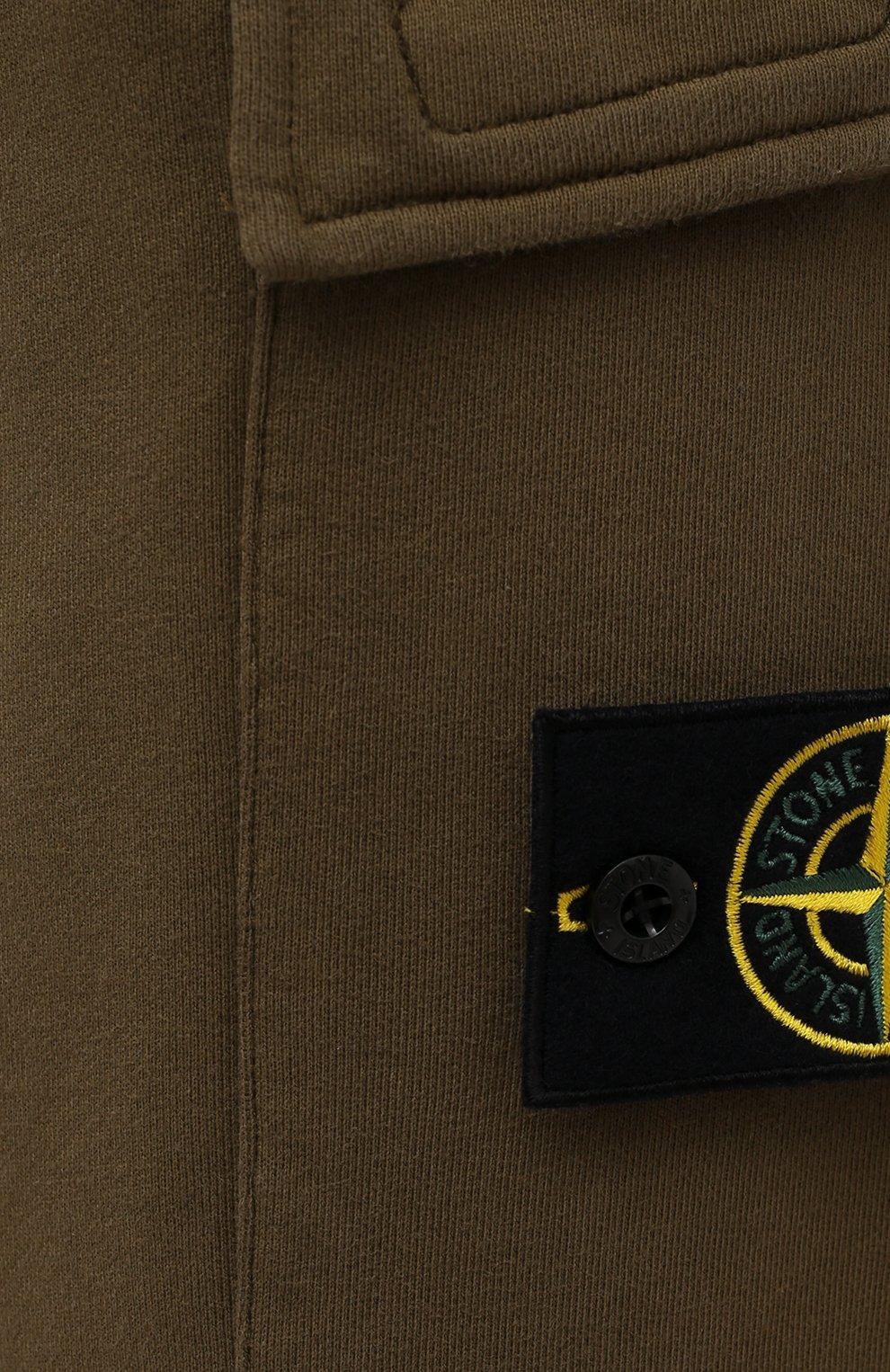 Мужские хлопковые джоггеры STONE ISLAND хаки цвета, арт. 741565251   Фото 5 (Силуэт М (брюки): Карго, Джоггеры; Мужское Кросс-КТ: Брюки-трикотаж; Длина (брюки, джинсы): Стандартные; Стили: Милитари; Материал внешний: Хлопок)