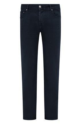 Мужские брюки изо льна и хлопка JACOB COHEN темно-синего цвета, арт. J620 C0MF 02342-V/55   Фото 1