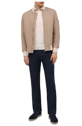Мужские брюки изо льна и хлопка JACOB COHEN темно-синего цвета, арт. J620 C0MF 02342-V/55   Фото 2