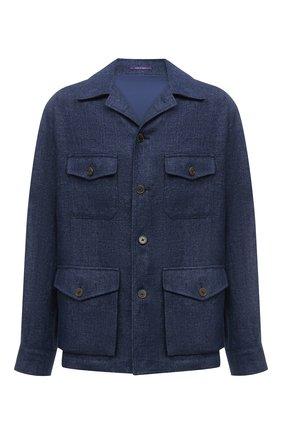 Мужская льняная куртка RALPH LAUREN синего цвета, арт. 798829721 | Фото 1 (Кросс-КТ: Куртка, Ветровка; Материал подклада: Купро; Материал внешний: Лен; Стили: Кэжуэл; Рукава: Длинные; Длина (верхняя одежда): До середины бедра)