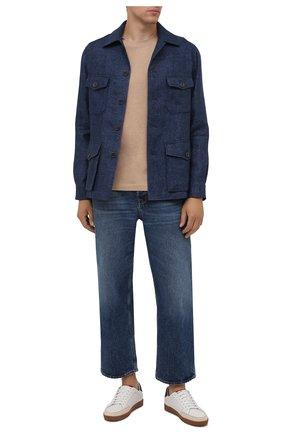 Мужская льняная куртка RALPH LAUREN синего цвета, арт. 798829721 | Фото 2 (Кросс-КТ: Куртка, Ветровка; Материал подклада: Купро; Материал внешний: Лен; Стили: Кэжуэл; Рукава: Длинные; Длина (верхняя одежда): До середины бедра)