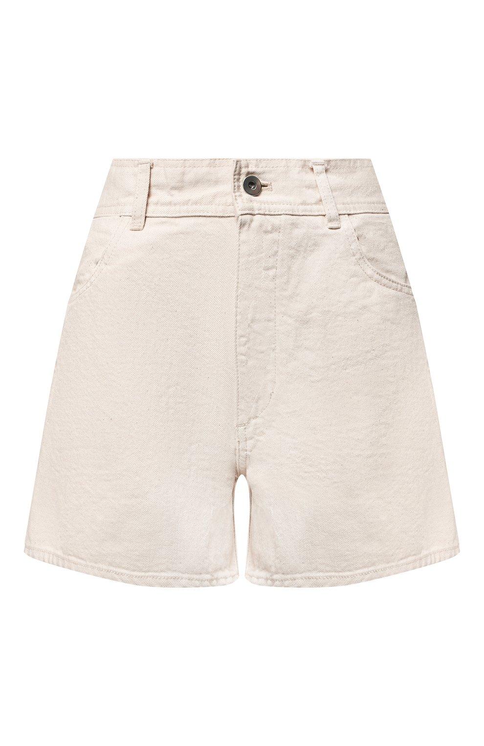 Женские джинсовые шорты JIL SANDER светло-бежевого цвета, арт. JPPS663122-WS246500   Фото 1 (Женское Кросс-КТ: Шорты-одежда; Кросс-КТ: Деним; Длина Ж (юбки, платья, шорты): Мини; Стили: Гранж; Материал внешний: Хлопок)