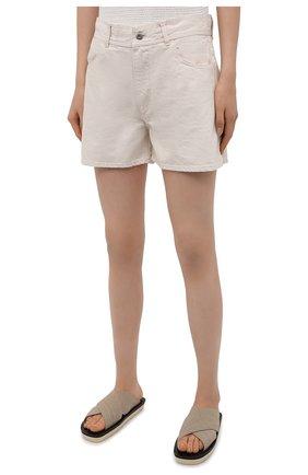 Женские джинсовые шорты JIL SANDER светло-бежевого цвета, арт. JPPS663122-WS246500   Фото 3 (Женское Кросс-КТ: Шорты-одежда; Кросс-КТ: Деним; Длина Ж (юбки, платья, шорты): Мини; Стили: Гранж; Материал внешний: Хлопок)