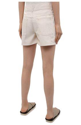 Женские джинсовые шорты JIL SANDER светло-бежевого цвета, арт. JPPS663122-WS246500   Фото 4 (Женское Кросс-КТ: Шорты-одежда; Кросс-КТ: Деним; Длина Ж (юбки, платья, шорты): Мини; Стили: Гранж; Материал внешний: Хлопок)