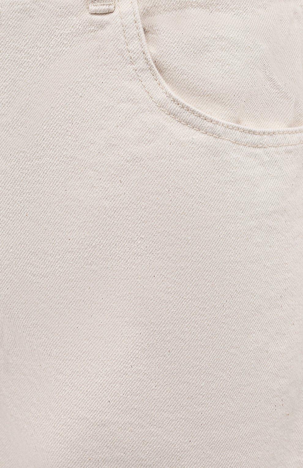 Женские джинсовые шорты JIL SANDER светло-бежевого цвета, арт. JPPS663122-WS246500   Фото 5 (Женское Кросс-КТ: Шорты-одежда; Кросс-КТ: Деним; Длина Ж (юбки, платья, шорты): Мини; Стили: Гранж; Материал внешний: Хлопок)