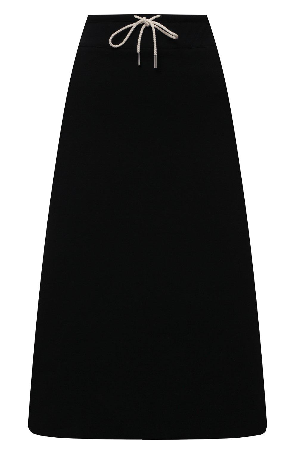 Женская хлопковая юбка JIL SANDER черного цвета, арт. JPPS727514-WS248608 | Фото 1