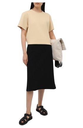 Женская хлопковая юбка JIL SANDER черного цвета, арт. JPPS727514-WS248608 | Фото 2