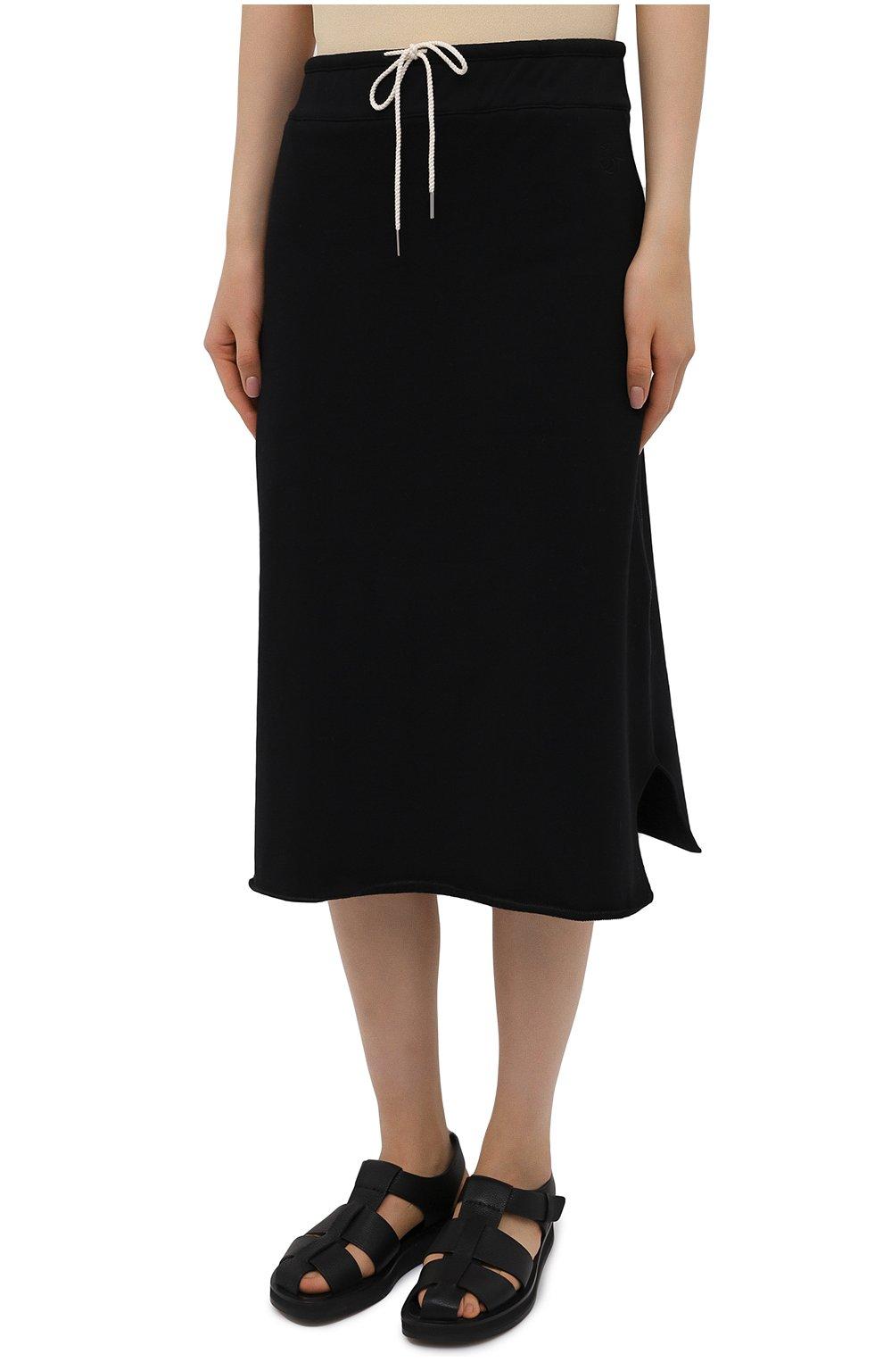 Женская хлопковая юбка JIL SANDER черного цвета, арт. JPPS727514-WS248608 | Фото 3
