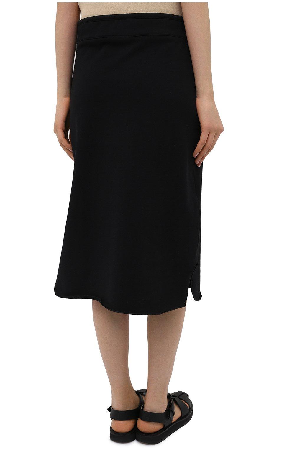 Женская хлопковая юбка JIL SANDER черного цвета, арт. JPPS727514-WS248608 | Фото 4