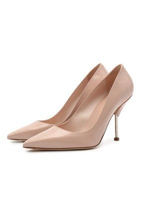 Женские кожаные туфли ALEXANDER MCQUEEN бежевого цвета, арт. 661482/WHV7B   Фото 1