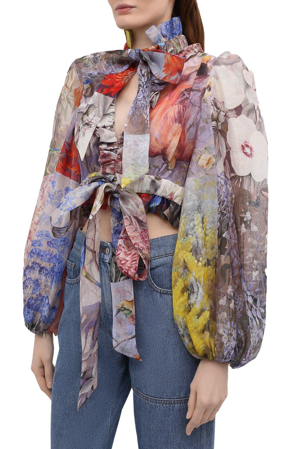 Женская льняная блузка ZIMMERMANN разноцветного цвета, арт. 1363TB0T | Фото 3